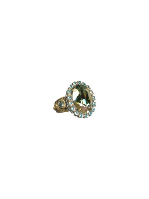 Sorrelli AQUA BUBBLES- Oval Crystal Cocktail Ring~ RBT77AGAQB