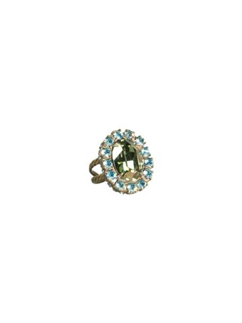 Sorrelli AQUA BUBBLES- Studded Crystal Oval Ring~ RBT72AGAQB