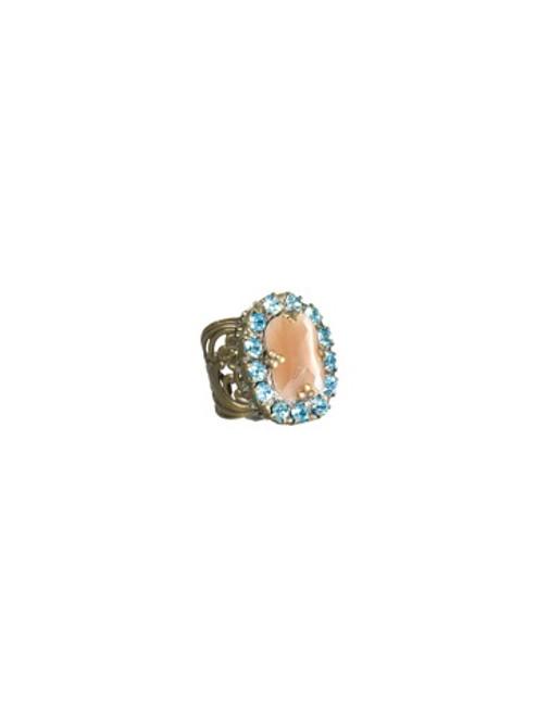 Sorrelli AQUA BUBBLES- Crystal Regency Cocktail Ring~ RBT73AGAQB