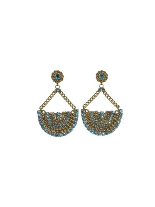 Sorrelli AQUA BUBBLES- Crystal Fan Dangle Earrings~ EBU48AGAQB