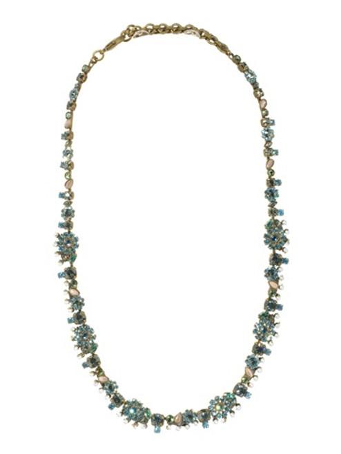 Sorrelli AQUA BUBBLES- Crystal Flower Necklace with Pearl Accents~ NBT11AGAQB