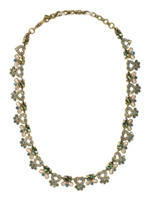 Sorrelli Aqua Bubbles Crystal Necklace Antique Gold