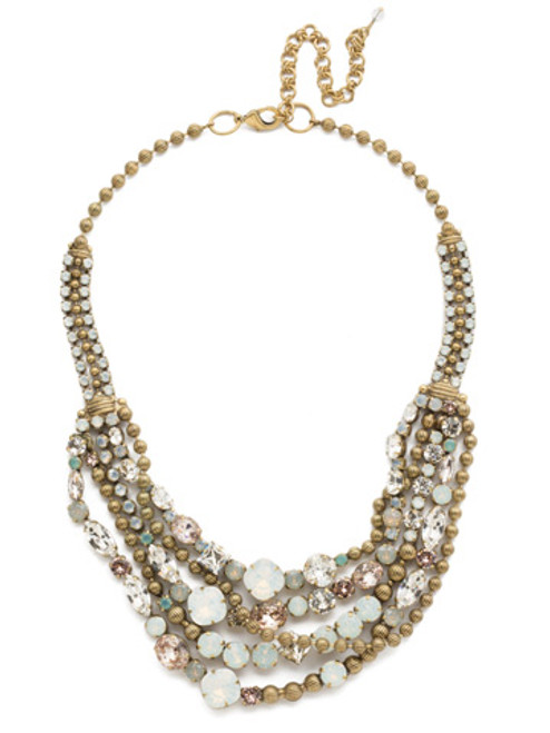 SORRELLI WHITE MAGNOLIA CRYSTAL NECKLACE NCK50AGWMA