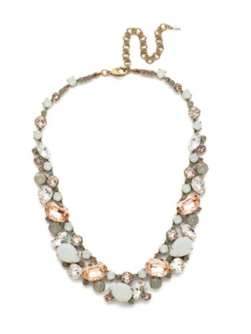 SORRELLI WHITE MAGNOLIA CRYSTAL NECKLACE NDU40AGWMA