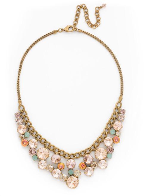 Sorrelli Apricot Agate- Round Crystal Cluster Bib Necklace~ NCW10AGAP