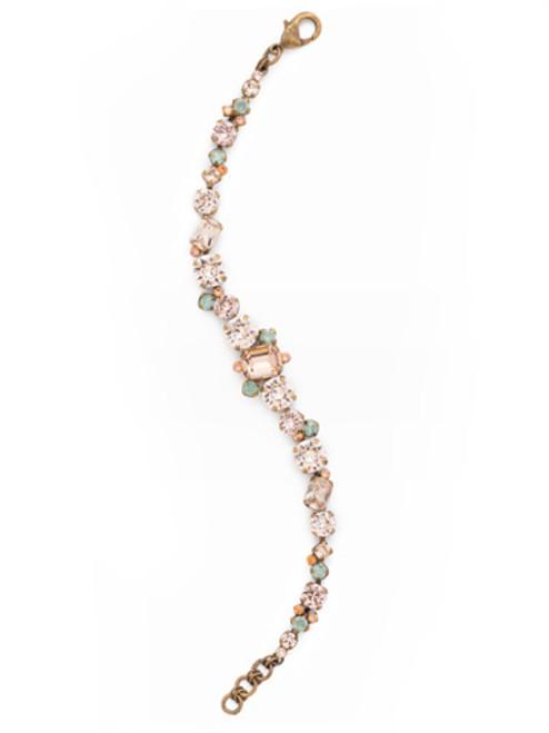 SORRELLI APRICOT AGATE Classic Multi-Cut Crystal Line Bracelet~ BCR137AGAP