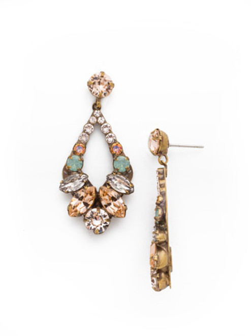 SORRELLI APRICOT AGATE-Navette and Round Crystal Adornment Dangle Earrings~ EDA53AGAP