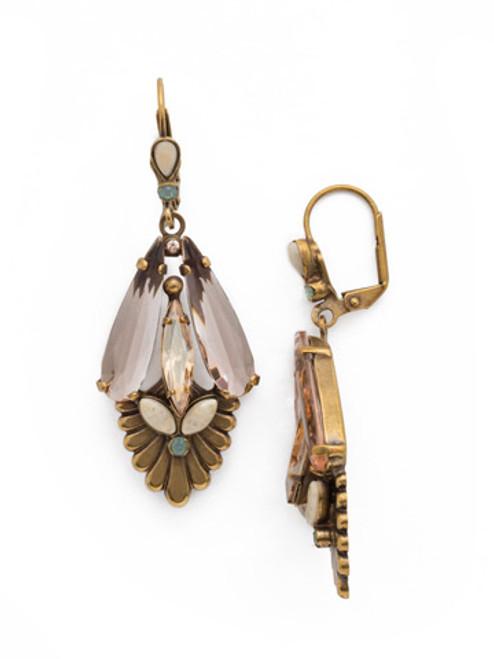 SORRELLI APRICOT AGATE- Deco Inspired One of a Kind Earrings~ EDK30AGAP