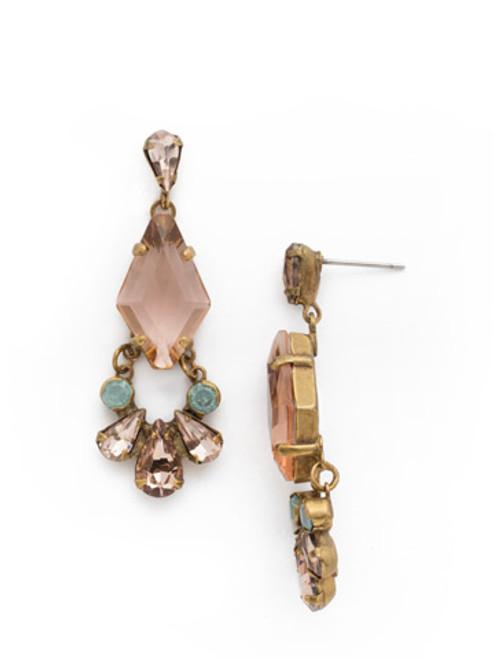 SORRELLI APRICOT AGATE- Crystal Dangle Earrings~ EDK66AGAP