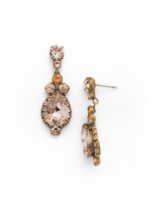 SORRELLI APRICOT AGATE-Central Teardrop and Round Crystal Dangle Earrings~ EDA55AGAP