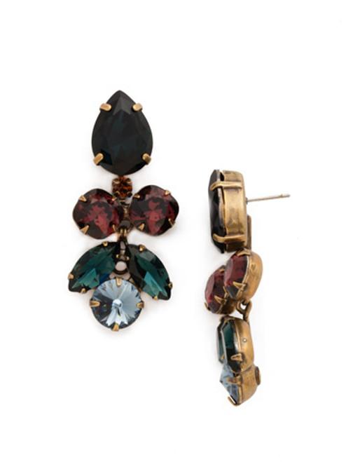 Blue Brocade Crystal Earrings