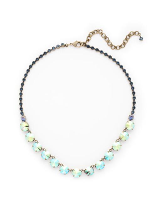 Sorrelli Dress Blues- Repeating Rivoli Classic Line Necklace~ NCU19AGDBL