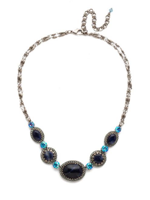 Blue Suede Crystal Necklace