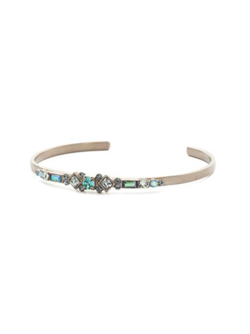 Sorrelli Antique Silver Blue Suede Crystal Bracelet