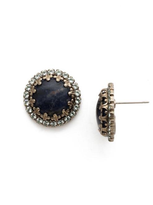 Blue Suede Crystal Earrings
