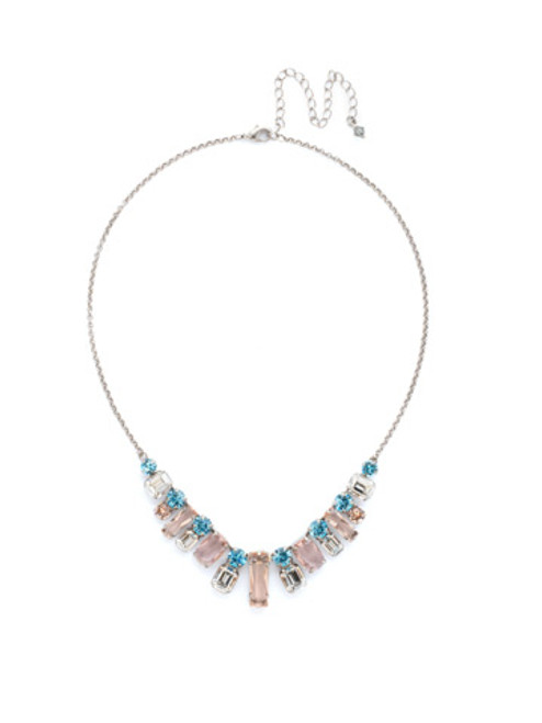 Sorrelli Sky Blue Peach Crystal Necklace NCG19ASSKY