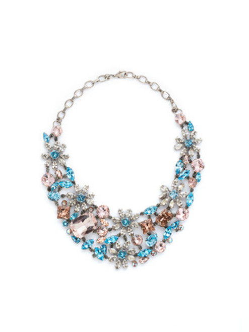 Sorrelli Sky Blue Peach Crystal Necklace NBT56ASSKY