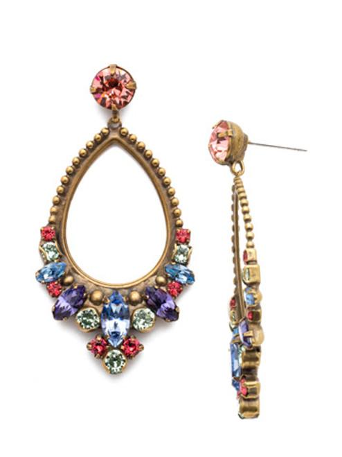 Sorrelli Bohemian Bright- Noveau Navette Crystal Statement Earrings~ EDQ31AGBHB