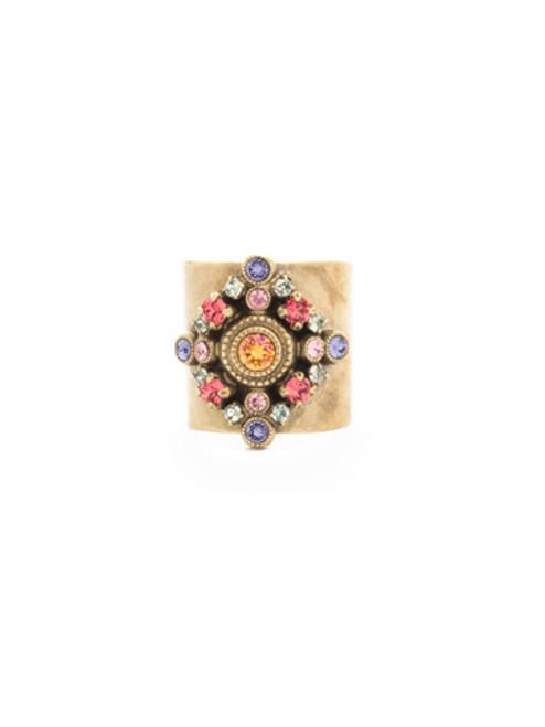 Full View-  Sorrelli Bohemian Bright- Clarice Crystal Cuff Ring~ REA22AGBHB