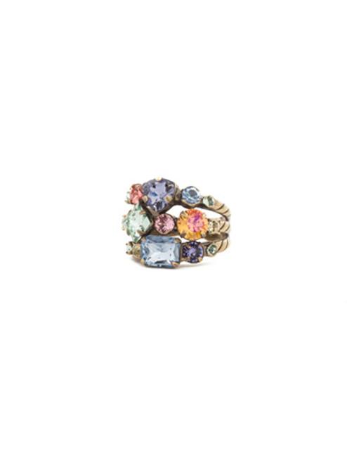 Sorrelli Bohemian Bright - Sedge Stacked Crystal Ring~ RDX1AGBHB