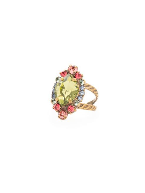 Sorrelli Bohemian Bright ~ Eustoma Crystal Cocktail Ring~ RDS44AGBHB