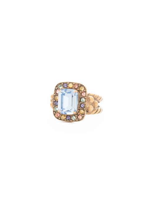 Sorrelli Bohemian Bright- Opulent Octagon Crystal Rings~ RDQ41AGBHB