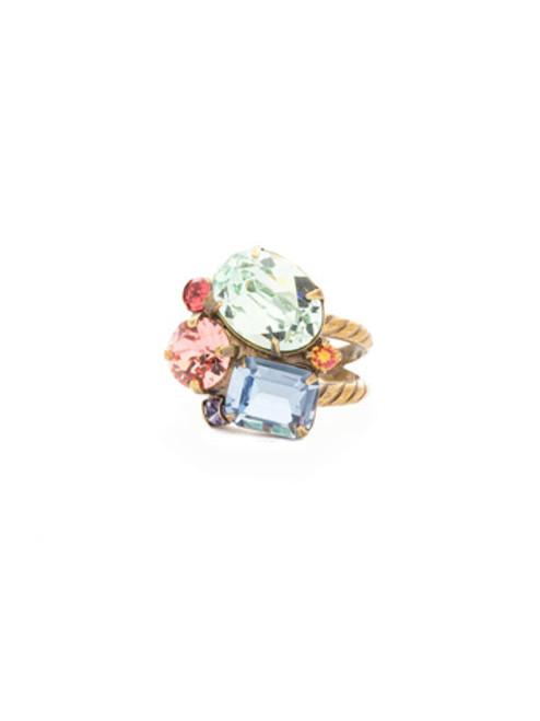 Sorrelli Bohemian Bright- Emerald Cluster Crystal Rings ~ RDN71AGBHB