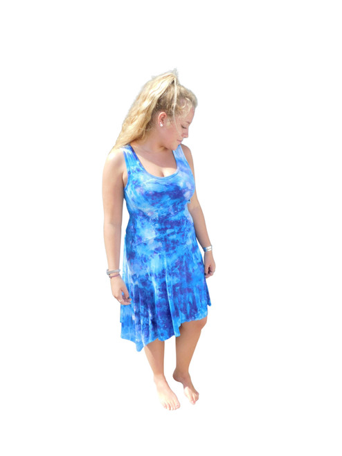 Ice Tye Dye Asymmetrical Sleeveless Dress by Martha