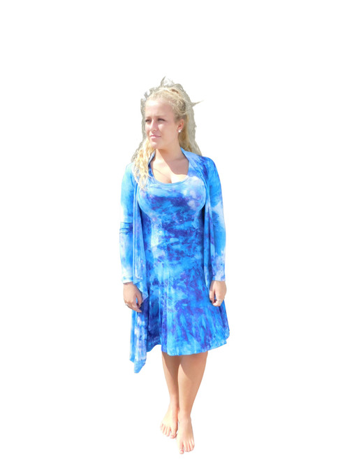 Ice Tye Dye Asymmetrical Sleeveless Dress Jacket by Martha