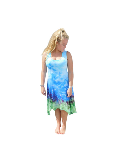 Ice Tye Dye Asymmetrical Sleeveless Dress by Martha