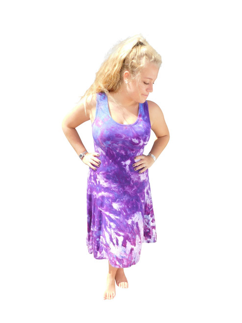 Ice Tye Dye Asymmetrical Sleeveless Dress by Martha Wild Berry