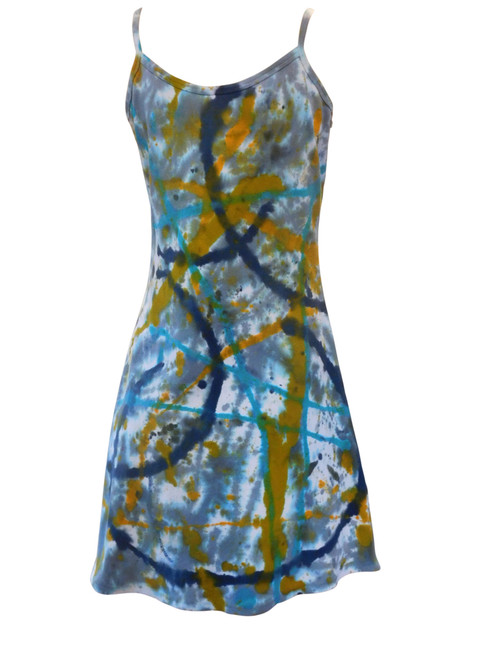 Hand Painted Strappy Cotton Mini Dress Graffiti