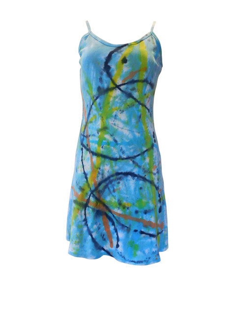 Hand Painted Strappy Cotton Mini Dress Pool Party