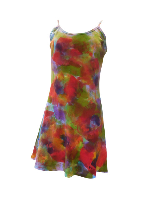 Hand Painted Strappy Cotton Mini Dress Poppy
