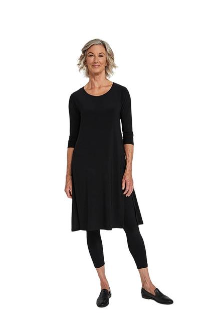 Sympli High Slit Over Under Dress-Black-2892