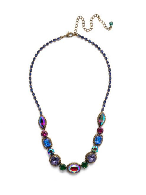 Sorrelli Game of Jewel Tones Cardoon Classic Crystal Line Necklace NDX7AGGOT
