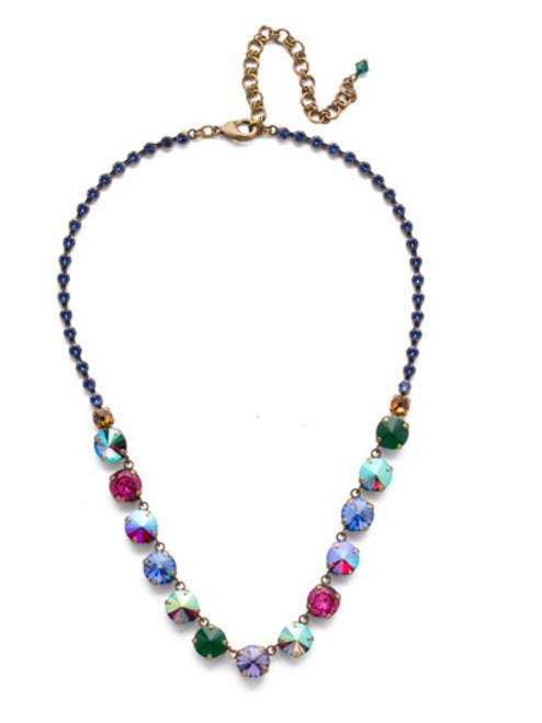 Sorrelli Game of Jewel Tones Repeating  Rivoli   Crystal   Necklace~NCU19AGGOT