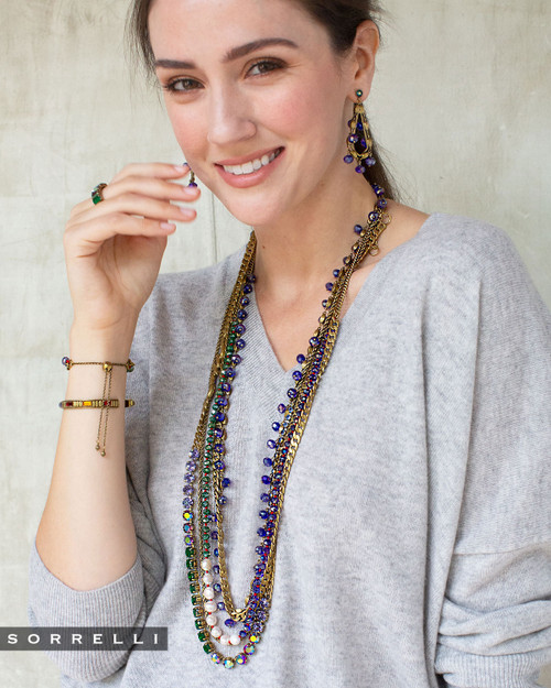 Sorrelli Game of Jewel Tones Daenerys Long Strand Crystal Necklace NEF16AGGOT