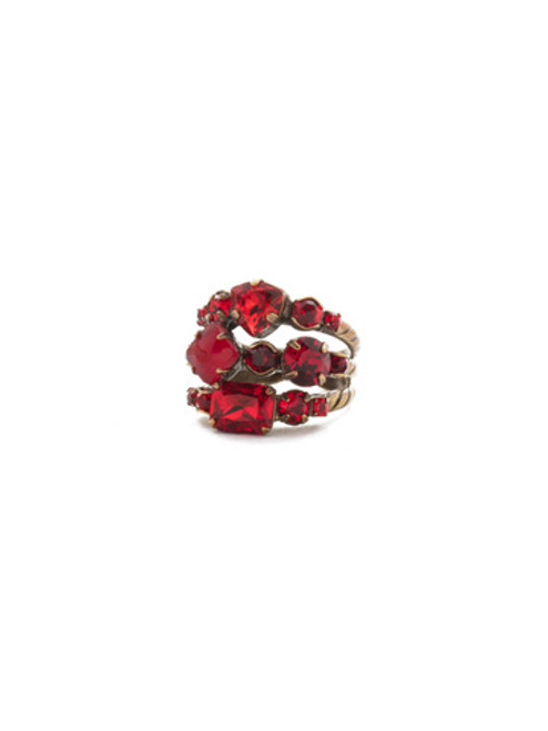 Full View Sorrelli Sansa Red Crystal Sedge Stacked Ring RDX1AGSNR