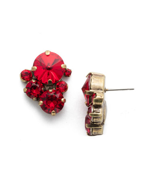 Gold Red Crystal Earrings