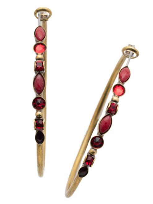 Sorrelli Sansa Red Crystal Hoop Earrings EDK40AGSNR