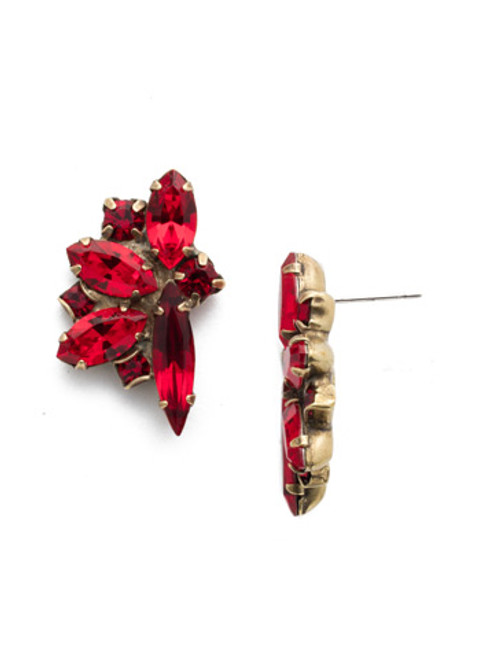 Different View Sorrelli Sansa Red Crystal Fanned Navette Earrings ECZ21AGSNR