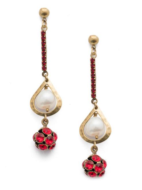 Sorrelli Sansa Red Crystal Renly Drop Earrings EEF48AGSNR