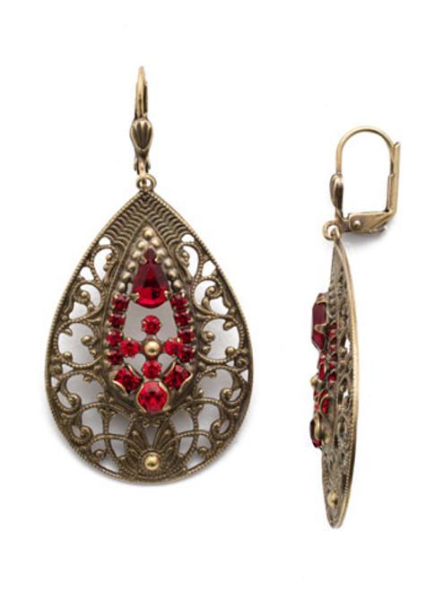 Sorrelli Sansa Red Crystal Cosmos Earrings EDS5AGSNR