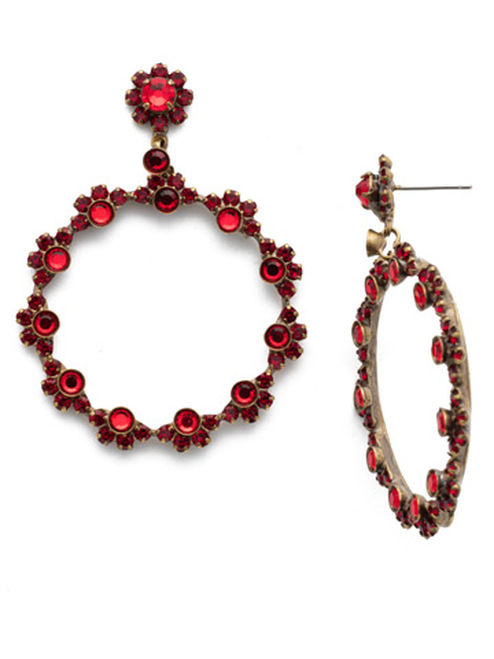 Different View Sorrelli Sansa Red Crystal Cirque Earrings EBP50AGSNR