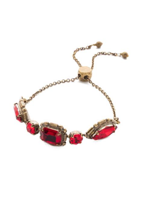 Sorrelli Sansa Red Tosca Crystal Slider Bracelet BEA31AGSNR