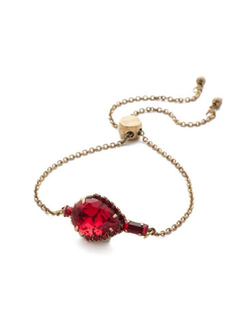 Sorrelli Sansa Red Lysa Crystal Slider Bracelet BEF2AGSNR