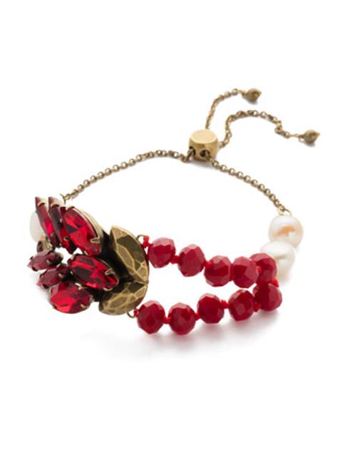 Sorrelli Sansa Red Viserion Crystal Slider Bracelet BEF11AGSNR