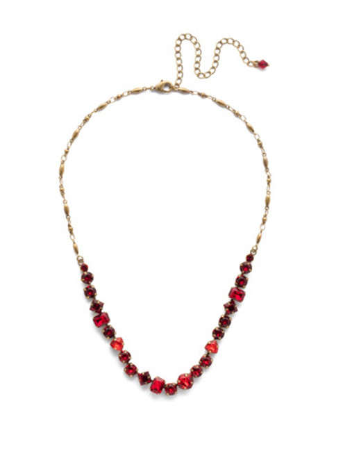 *Special Order* Sorrelli Sansa Red  Papaver Classic Crystal Line Necklace~NDX14AGSNR
