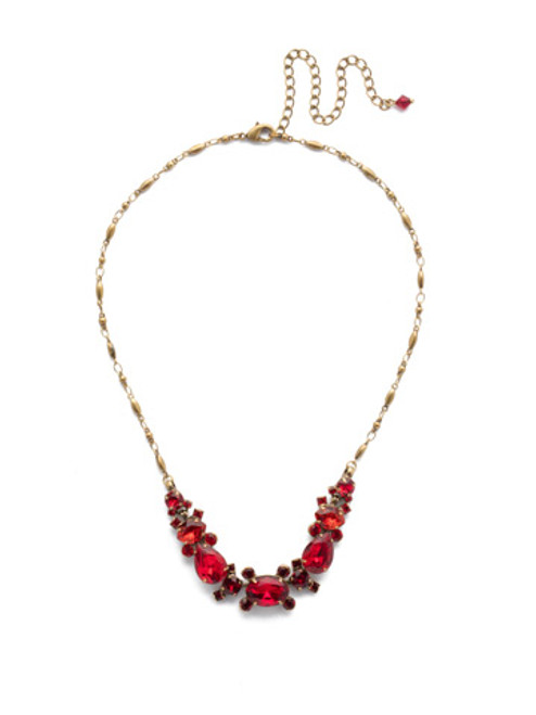 sorrelli sansa red laurel crystal necklace nds49agsnr